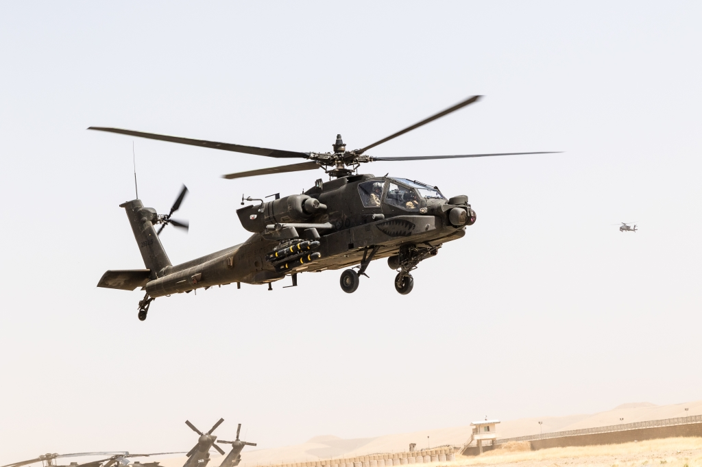 U.S. Army AH-64E Apache pilots assigned to Task Force Griffin, 16th Combat Aviation Brigade, 7th Infantry Division land for fuel in Kunduz, Afghanistan, May 31, 2017. The Griffins are working hard to support U.S. Forces Afghanistan as part of Operation Freedom's Sentinel and Resolute Support Mission.